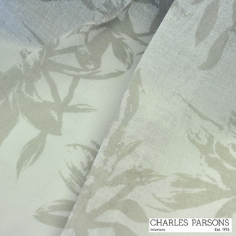 Charles Parsons Provence - Nougat  | Curtain Sheer Fabric - Beige, Floral, Garden, Synthetic, Tan, Taupe, Uncoated, Washable, Domestic Use, Weighted Hem, Wide Width