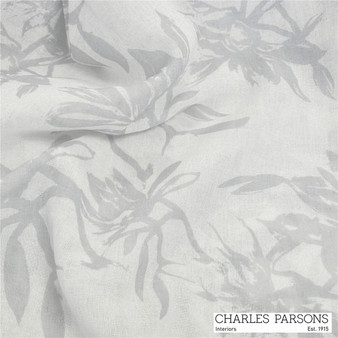 Charles Parsons Provence - Silver  | Curtain Sheer Fabric - Grey, White, Floral, Garden, Synthetic, Uncoated, Washable, Domestic Use, White, Weighted Hem, Wide Width