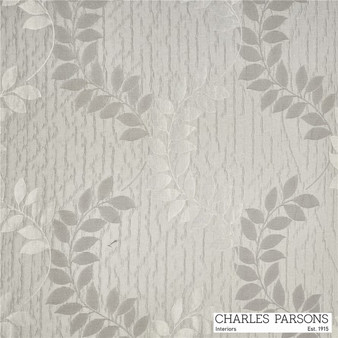 Charles Parsons Christelle - Platinum  | Curtain Fabric - White, Craftsman, Floral, Garden, Synthetic, Traditional, Uncoated, Washable, Commercial Use, White, Standard Width
