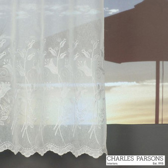 Charles Parsons Bronte - White  | Curtain Sheer Fabric - Washable, Floral, Garden, Botantical, Traditional, Uncoated, Wide-Width, Whites