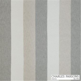 Charles Parsons Flaxton - Silver  | Curtain Sheer Fabric - Fire Retardant, Washable, Grey, Stripe, Traditional, Uncoated, Wide-Width