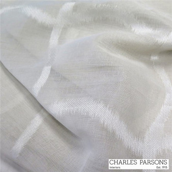 Charles Parsons Edra - Silver  | Curtain Sheer Fabric - Grey, Geometric, Synthetic, Traditional, Uncoated, Washable, Domestic Use, Weighted Hem, Wide Width