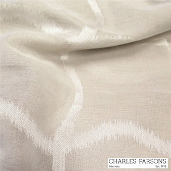 Charles Parsons Edra - Putty  | Curtain Sheer Fabric - Linen/Linen Look, Washable, Beige, Uncoated, Wide-Width, Geometric, Metallic