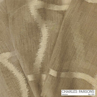 Charles Parsons Edra - Mocha  | Curtain Sheer Fabric - Washable, Brown, Uncoated, Wide-Width, Transitional, Geometric, Metallic
