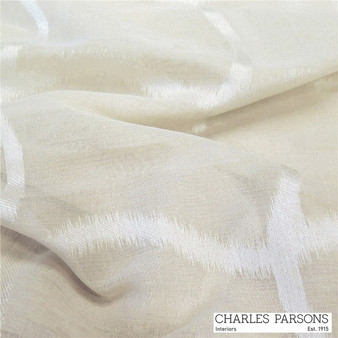 Charles Parsons Edra - Pearl  | Curtain Sheer Fabric - White, Geometric, Industrial, Linen and Linen Look, Synthetic, Uncoated, Washable, Domestic Use, White, Weighted Hem