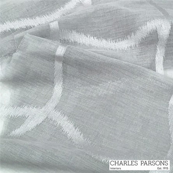 Charles Parsons Edra - Dove  | Curtain Sheer Fabric - Grey, White, Geometric, Synthetic, Uncoated, Washable, Domestic Use, White, Weighted Hem, Wide Width