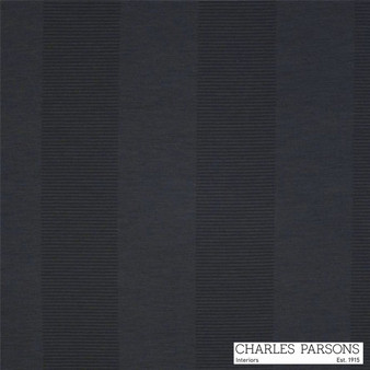 Charles Parsons Habitat - Liquorice  | Curtain Fabric - Washable, Black, Charcoal, Stripe, Traditional, Uncoated, Standard Width