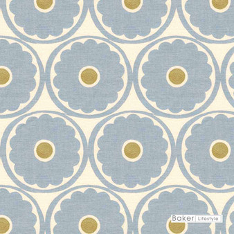 Baker Lifestyle - Pop Flower - Blue-Biscuit  | Curtain & Upholstery fabric - Blue, Floral, Garden, Botantical, Embroidery, Circles, Farmhouse, Natural