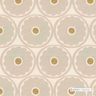 Baker Lifestyle - Pop Flower - Stone-Biscuit  | Curtain & Upholstery fabric - Beige, Brown, Floral, Garden, Botantical, Transitional, Embroidery