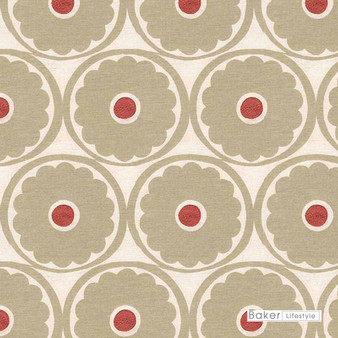 Baker Lifestyle - Pop Flower - Oatmeal-Pimento  | Curtain & Upholstery fabric - Beige, Red, Floral, Garden, Botantical, Embroidery, Circles, Print