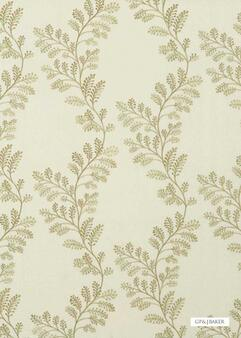 GPJ Baker - Oakmere - Sage  | Curtain & Upholstery fabric - Green, Floral, Garden, Botantical, Traditional, Transitional, Embroidery, Farmhouse