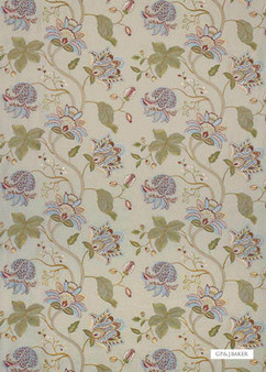 GPJ Baker - Devereux Linen - Eau De Nil-Multi  | Curtain & Upholstery fabric - Green, Floral, Garden, Botantical, Traditional, Embroidery, Farmhouse