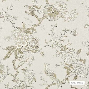 GPJ Baker - Oriental Bird - Ivory  | Wallpaper, Wallcovering - Tan, Taupe, Floral, Garden, Botantical, Traditional, Transitional, Paper Based