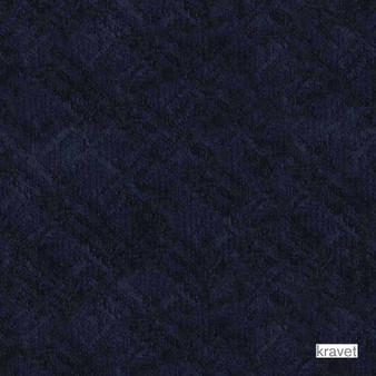 Kravet - Cross The Line - Navy  | Upholstery Fabric - Blue, Fibre Blends, Pattern, Velvet/Faux Velvet, Standard Width