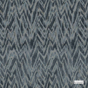 Kravet - Les Antibes - Indigo  | Upholstery Fabric - Grey, Contemporary, Midcentury, Synthetic, Velvet/Faux Velvet, Chevron, Zig Zag, Standard Width, Flame Stitch, Watercolour