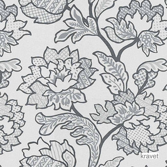 Kravet - Geo Floral - Platinum  | Curtain & Upholstery fabric - Grey, Floral, Garden, Jacobean, Natural Fibre, Traditional, Jacquards, Natural, Print, Standard Width