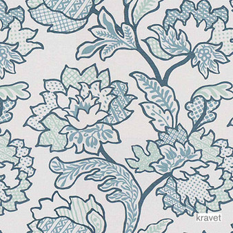 Kravet - Geo Floral - Grotto  | Curtain & Upholstery fabric - Blue, Floral, Garden, Natural Fibre, Jacquards, Natural, Print, Standard Width