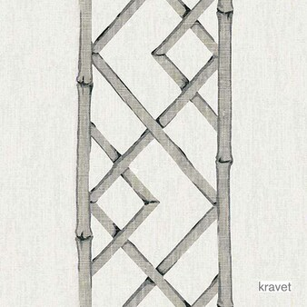 Kravet - Latticely - Pewter  | Curtain & Upholstery fabric - Grey, Asian, Natural Fibre, Lattice, Trellis, Natural, Print, Standard Width