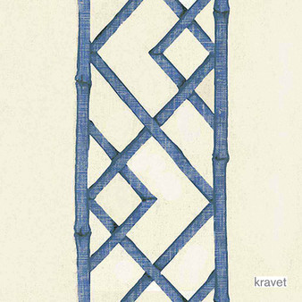 Kravet - Latticely - Ultramarine  | Curtain & Upholstery fabric - Blue, Asian, Natural Fibre, Lattice, Trellis, Natural, Print, Standard Width