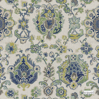 Kravet - Saroukrug - Ultramarine  | Curtain & Upholstery fabric - Blue, Floral, Garden, Multi-Coloured, Natural Fibre, Natural, Print, Standard Width, Rococo