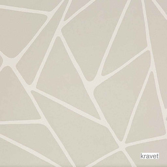 Kravet - La Pointe - Ivoire  | Wallpaper, Wallcovering - Beige, Contemporary, Midcentury, Abstract, Print, Triangles