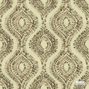 Kravet - Sun Pillar - Sand  | Curtain & Upholstery fabric - Brown, Gold,  Yellow, Contemporary, Midcentury, Ogee, Synthetic, Standard Width
