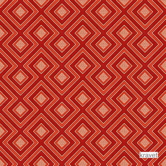 Kravet - Enid'S Trellis - Tomato  | Upholstery Fabric - Stain Repellent, Red, Contemporary, Diaper, Midcentury, Small Scale, Synthetic, Bacteria Resistant, Odour Resistant