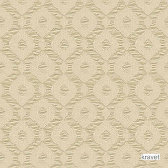 Kravet - Snowflake - Flax  | Curtain & Upholstery fabric - Beige, Fibre Blends, Geometric, Midcentury, Ogee, Transitional, Embroidery, Standard Width