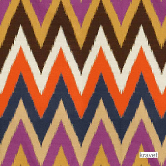 Kravet - Tikal Flame - Plume  | Upholstery Fabric - Blue, Eclectic, Kilim, Multi-Coloured, Mediterranean, Midcentury, Synthetic, Chevron, Zig Zag, Standard Width, Flame Stitch