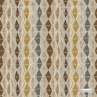 Kravet - Nyota - Gazelle  | Upholstery Fabric - Brown, Diaper, Eclectic, Multi-Coloured, Small Scale, Stripe, Synthetic, Diamond - Harlequin, Standard Width