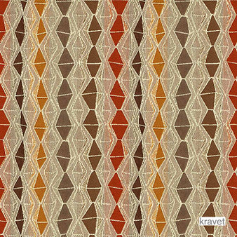 Kravet - Nyota - Antelope  | Upholstery Fabric - Red, Eclectic, Multi-Coloured, Stripe, Synthetic, Diamond - Harlequin, Standard Width