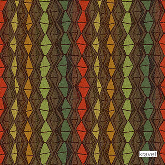 Kravet - Nyota - Grassland  | Upholstery Fabric - Brown, Diaper, Eclectic, Multi-Coloured, Small Scale, Stripe, Synthetic, Diamond - Harlequin, Standard Width