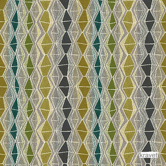 Kravet - Nyota - Landscape  | Upholstery Fabric - Diaper, Eclectic, Multi-Coloured, Small Scale, Stripe, Synthetic, Diamond - Harlequin, Standard Width