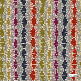Kravet - Nyota - Zanzibar  | Upholstery Fabric - Gold,  Yellow, Diaper, Eclectic, Multi-Coloured, Small Scale, Stripe, Synthetic, Diamond - Harlequin, Standard Width
