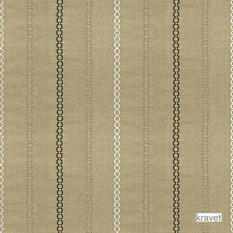 Kravet - 4003_16  | Curtain Fabric - Brown, Metallic, Fibre Blends, Stripe, Traditional, Embroidery, Metal, Standard Width