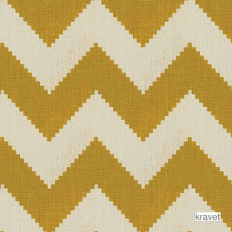 Kravet - Limitless - Squash  | Curtain & Upholstery fabric - Gold,  Yellow, Contemporary, Linen and Linen Look, Natural Fibre, Chevron, Zig Zag, Natural, Print, Standard Width