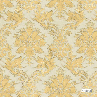 Kravet - Versailles Chic - Mineral  | Upholstery Fabric - Gold,  Yellow, Damask, Synthetic, Traditional, Standard Width, Rococo