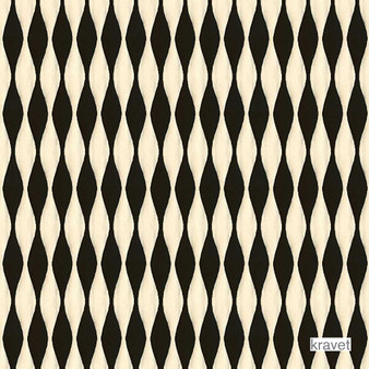 Kravet - Bayamo - Licorice  | Upholstery Fabric - Black - Charcoal, Contemporary, Geometric, Midcentury, Ogee, Synthetic, Jacquards, Standard Width
