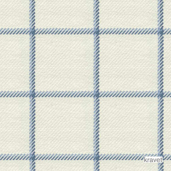 Kravet - Harbord - Lake  | Upholstery Fabric - Blue, Check, Gingham, Natural Fibre, Traditional, Transitional, Natural, Standard Width