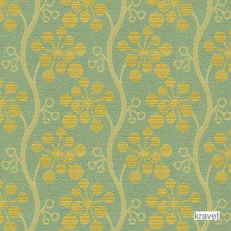 Kravet - Day Dreamer - Seaside  | Upholstery Fabric - Stain Repellent, Gold,  Yellow, Contemporary, Fibre Blends, Floral, Garden, Midcentury, Bacteria Resistant