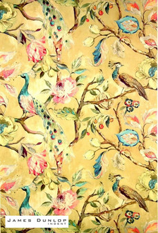 James Dunlop Indent - Blenheim - Ochre    Curtain & Upholstery fabric - Gold, Yellow, Green, Turquoise, Teal, Floral, Garden, Botantical, Dry Clean