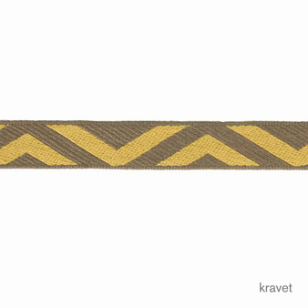 Kravet - Geo Club Border - Oro  | Gimps & Braids, Curtain & Upholstery Trim - Brown, Gold, Yellow, Grey, Chevron, Zig Zag, Trimmings, Gimps & Braid