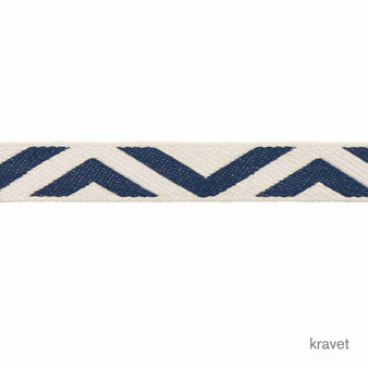 Kravet - Geo Club Border - Indigo  | Gimps & Braids, Curtain & Upholstery Trim - Blue, Whites, Chevron, Zig Zag, Trimmings, Gimps & Braid