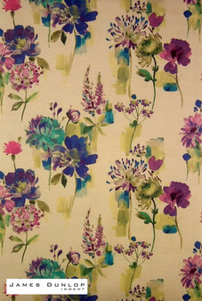 James Dunlop Indent - Painted Garden - Sapphire  | Curtain & Upholstery fabric - Blue, Contemporary, Floral, Garden, Multi-Coloured, Natural Fibre, Pink, Purple, Dry Clean