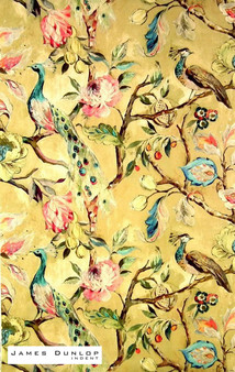 James Dunlop Indent - Hampton Court - Ochre  | Curtain & Upholstery fabric - Gold,  Yellow, Deco, Decorative, Floral, Garden, Natural Fibre, Traditional, Velvet/Faux Velvet
