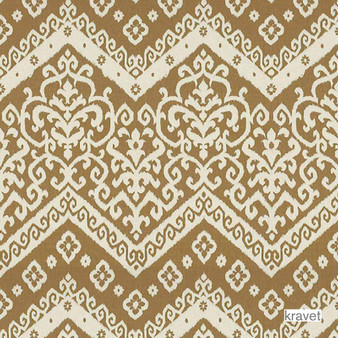 Kravet - Dressur - Wicker  | Upholstery Fabric - Brown, Contemporary, Damask, Kilim, Natural Fibre, Traditional, Chevron, Zig Zag, Natural, Print