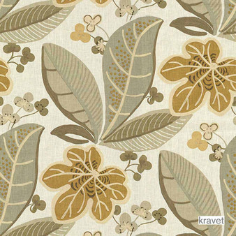 Kravet - Sula - Pelican  | Curtain & Upholstery fabric - Beige, Floral, Garden, Midcentury, Natural Fibre, Tropical, Embroidery, Natural, Print, Standard Width