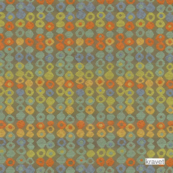 Kravet - Missing Link - Seaside  | Upholstery Fabric - Stain Repellent, Gold,  Yellow, Eclectic, Fibre Blends, Geometric, Multi-Coloured, Midcentury, Small Scale