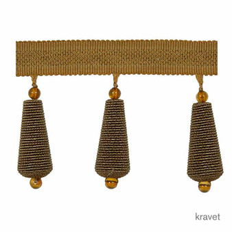 Kravet - Gilded Teardrop - Bronze  | Fringe, Curtain & Upholstery Trim - Gold,  Yellow, Fibre Blends