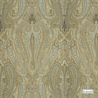 Kravet - Royalty - Peacock  | Upholstery Fabric - Beige, Blue, Paisley, Synthetic, Standard Width